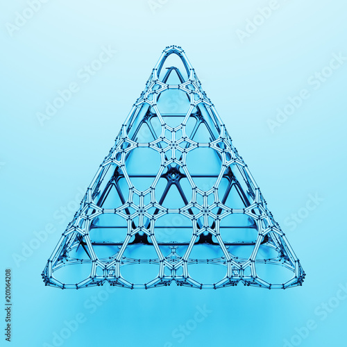 3d render abstract  geometrical shape. Complex structure. Simple geometry with detailed segments..
