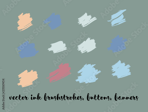 Graphic Hand Drawn Vector Banner Set. Blue, Pink, Purple Logos, Paint Brush Lipstick Smears. Modern Textured Ads Background, Artistic Paintbrush Doodles. Rich VIP Fashion Ink Vector Banners Set.