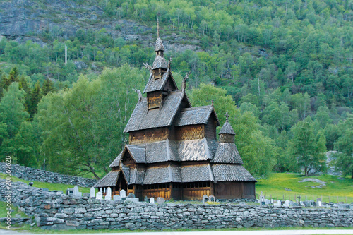 Norwegian old Stave church in Borgund in the valley - 201069628
