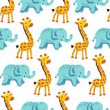 Flat seamless pattern with giraffe and elephant
