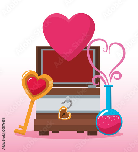 Chest with heart cartoon vector illustration graphic design