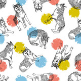 Seamless pattern with cute husky and colorful circles. Vector animal background. Funny design for kids things. - 201078676
