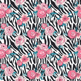 Vector print of zebra skin with flowers. Fashion background for fabric design. Hand drawn stylish seamless pattern. - 201079085