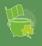 saint patricks day design with pot of gold with clover icon over green background, colorful line design. vector illustration