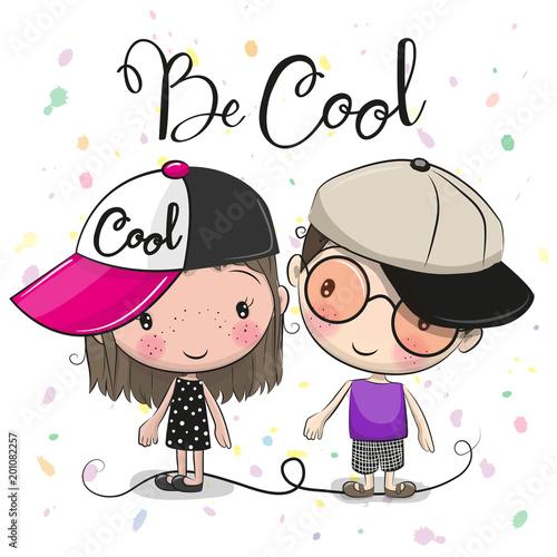 Cartoon Boy and Girl in caps