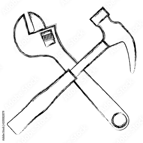 wrench key with hammer crossed vector illustration design