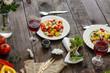 salad - organic vegetables, a set of ingredients (juicy vegetables). copy space (food vegetables background) - 201086014