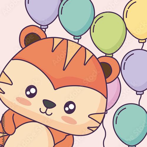 śliczny tygrys z kolorowymi balonami nad różowym tłem, wektorowa ilustracja