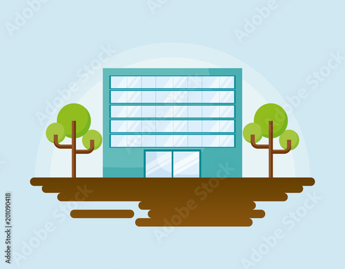 Foto op Plexiglas Lichtblauw city building and trees over blue background, colorful design. vector illustration