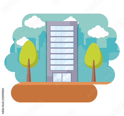 Sticker landscape with city building and trees over white background, colorful design. vector illustration