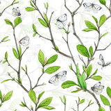 Seamless pattern, weave branches with green foliage and white butterflies.. Illustration by markers, beautiful floral composition on a white background. - 201093875
