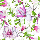 Seamless pattern, blooming magnolia and weave branches with green foliage. Illustration by markers, beautiful floral composition on a white background. - 201093890