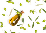Fresh olives and olive oil, above view.