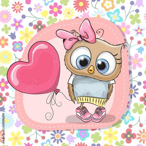 Cute Cartoon Owl girl with balloon