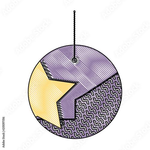 Fotobehang Bol decorative ball hanging over white background, colorful design. vector illustration