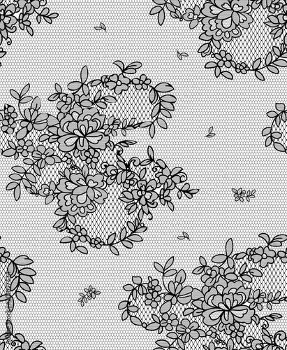 seamless floral lace pattern, vector illustration - 201097634