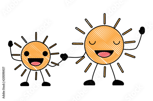 kawaii happy suns over white background, colorful design. vector illustration