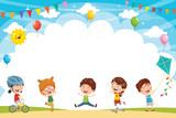 Vector Illustration Of Kids Playing Outside - 201099243