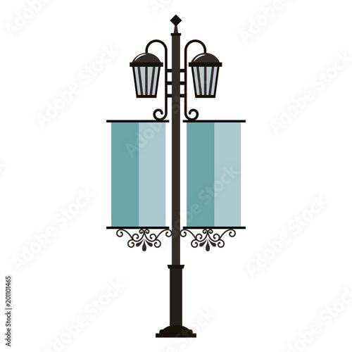 Wall mural street lamps vintage pennants image vector illustration