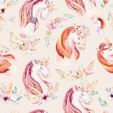 Cute watercolor unicorn seamless pattern with flowers. Nursery magic unicorn patterns. Princess rainbow texture. Trendy pink cartoon pony horse. - 201101630