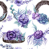 Seamless Pattern of Watercolor Rustic Bouquets - 201103017