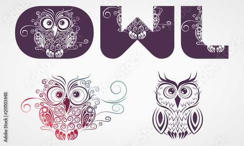 Aluminium Uilen cartoon Owl with letters