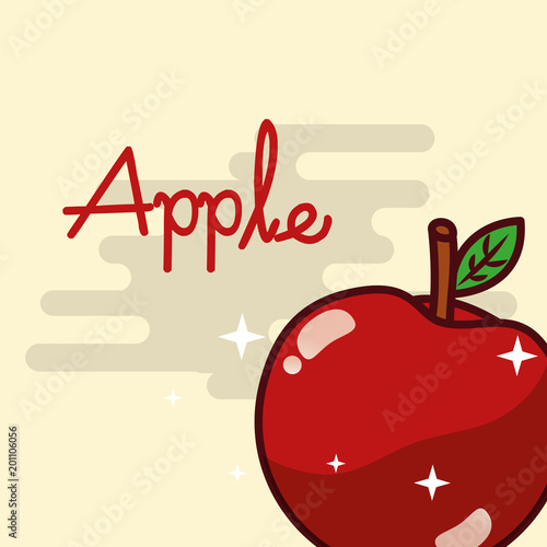 apple fruit delicious shiny poster vector illustration - 201106056