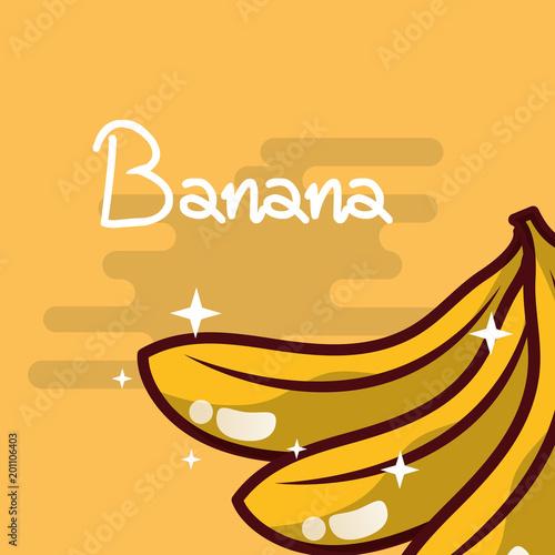 banana fruit delicious shiny poster vector illustration
