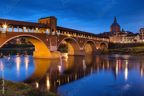 Sunset view over the Covered Bridge in Pavia - 201107651