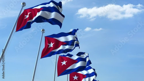 Waving flags of Cuba against the sky, loopable 3D animation