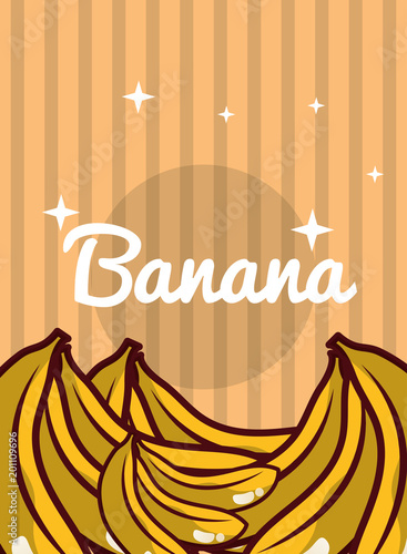 striped bright background fresh natural fruits banana vector illustration - 201109696