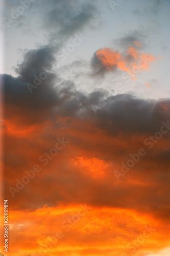 Poster Oranje eclat sunset sky at summer