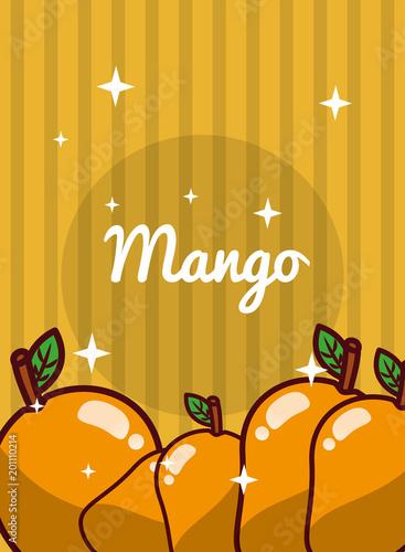 paski jasne tło świeże owoce naturalne mango ilustracji wektorowych