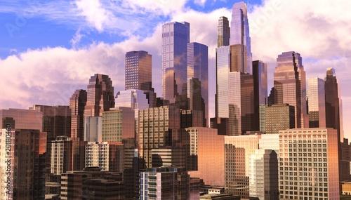 piękne nowoczesne miasto, nowoczesne wieżowce, drapacze chmur, renderowanie 3D
