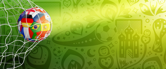 soccer background with colorful ball in goal