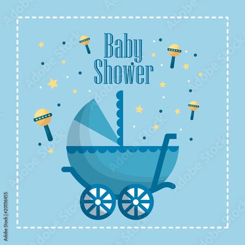 szczęśliwy baby prysznic grzechotki żółte gwiazdy wózka niebieska rama urodzony uroczystości ilustracji wektorowych