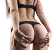 Girl touching buttocks