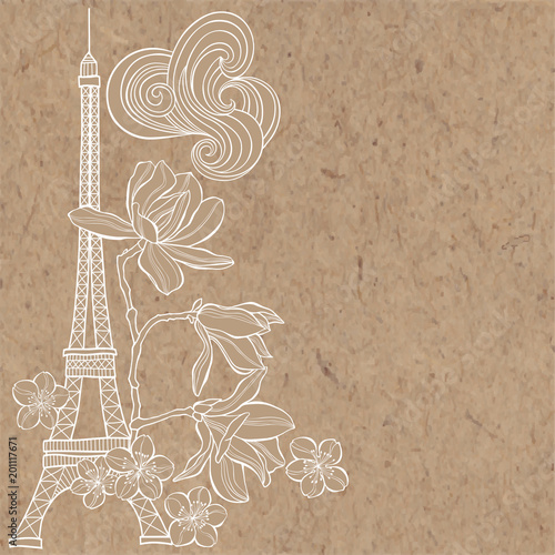 Sticker  Eiffel Tower, magnolia and sakura.  Spring illustration with place for text on a kraft pape.Vertical composition. Greeting card, invitation or isolated elements for design.