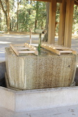 Water tub and ladle for cleaning hand in temple called Tsukubai