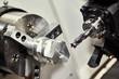 cutting tool at metal working lathe machine