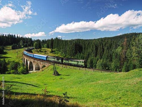 Carpatian mountains train summer landscapes