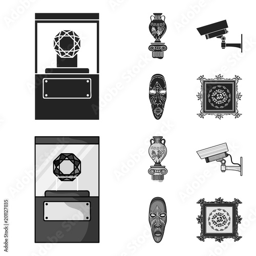 A diamond, a vase on a stand, a surveillance camera, an African mask. Museum set collection icons in black,monochrom style vector symbol stock illustration web.