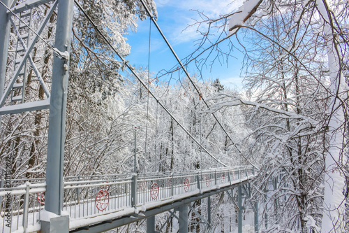 Foto Murales Pedestrian bridge across a ravine in a beautiful snowy day in winter