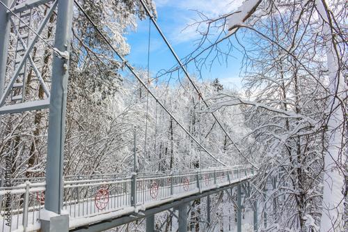 Pedestrian bridge across a ravine in a beautiful snowy day in winter