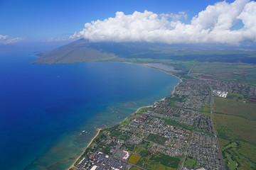 Aerial view of the Pacific Ocean coast in the Kihei area, Kealia Pond and Maalaea Bay in Maui, Hawaii © eqroy