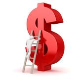 White Man Climbing to Dollar Symbol