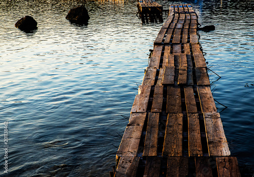 Wooded bridge in the port