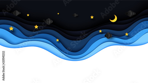 Fototapeta Night scenery with clouds,stars and crescent moon on midnight sky background paper art style design.Vector illustration.