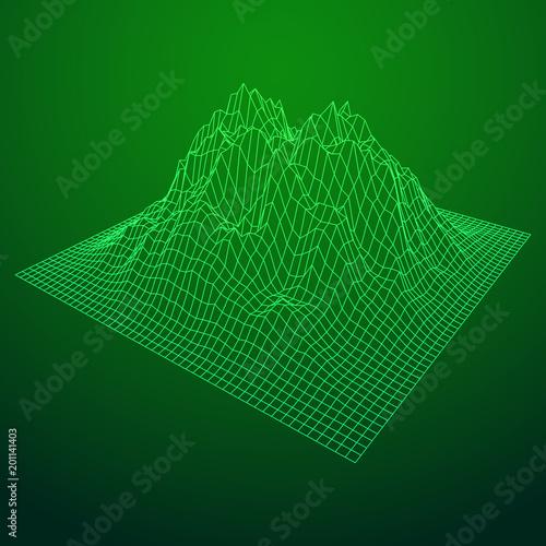 Fotobehang Groene Wireframe landscape vector background. Cyberspace grid technology illustration