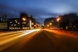 Light trails on the Jannowitz bridge at the Blue Hour,creatively edited with tilt / shift effect